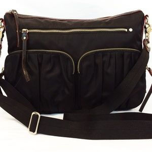 MZ Wallace Hayley Black Nylon Hobo Crossbody Bag